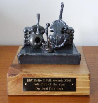 The 'hardware'- A trophy for Pam &amp Alan Colls' hard work and dedication over 35 years